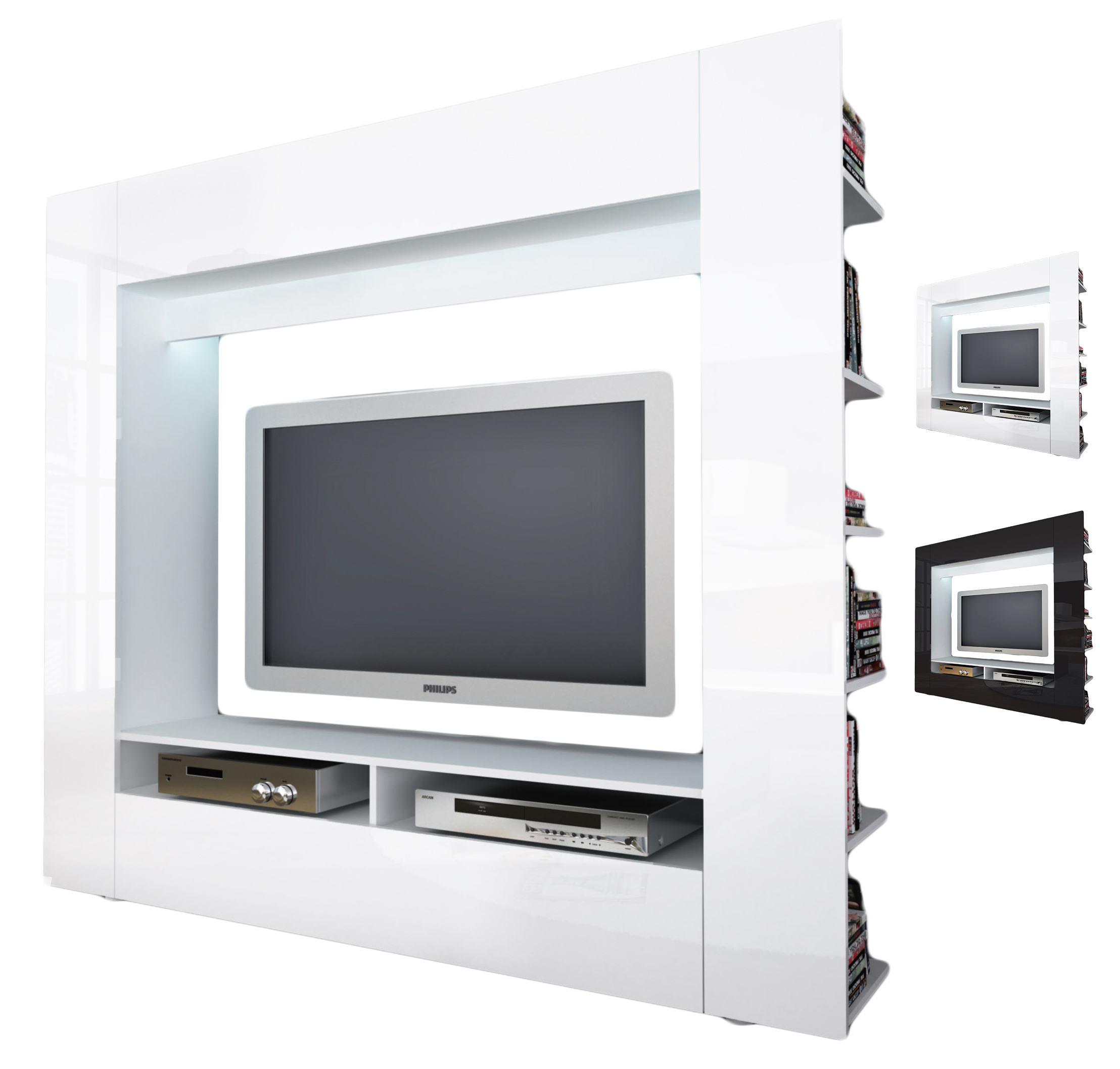 anbauwand wohnwand moderne multimediacenter wei schwarz. Black Bedroom Furniture Sets. Home Design Ideas